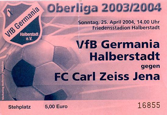FSV Zwickau Programm 2003//04 FC Carl Zeiss Jena