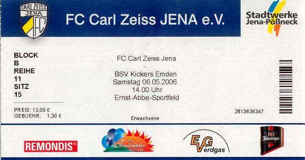 Programm 2005//06 FC Carl Zeiss Jena Kickers Emden